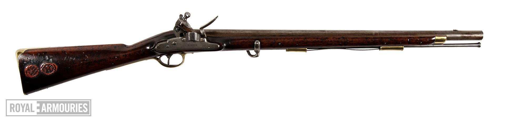 Heavy Dragoon Carbine. Pattern 1796, Britain, about 1808.  For 1st Dragoon Guards. By Henry Nock with his screwless lock. (XII.166)