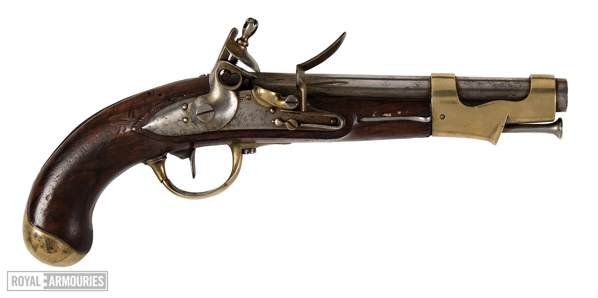IX Model flintlock muzzle-loading military pistol, France, 1802 (XII.866)