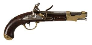 Thumbnail image of IX Model flintlock muzzle-loading military pistol, France, 1802 (XII.866)
