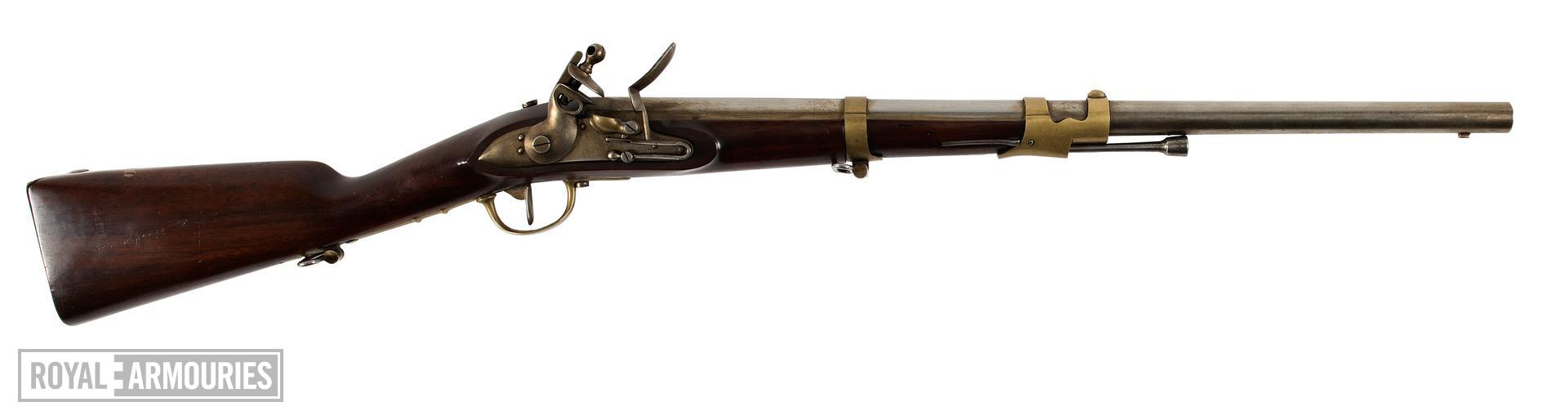 Flintlock muzzle-loading carbine - Cavalry Type Perhaps a An.IX Cavalry type? Perhaps a Mousqueton No.1 (Originally manufactured in Paris)?  This carbine was originally catologued as a Gendamerie model, however it has a cavalry sling bar on the back plate. The Gendamerie model did not have this feature.  The lock or the barrel feature none of the expected markings for a French carbine of the late 18th - early 19th century. It is therefore possible that this is either a foreign copy, or rushed French version of the carbine, manufactured in a hurry towards the end of the Revolutionary Period. This would make it pre An. IX (1800) and therfore more likely an ill manufactured revolutionary period Mousqueton No.1 .   This object will need futher research.LT 30/03/15.