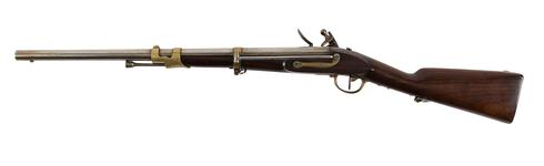 Thumbnail image of Flintlock muzzle-loading carbine - Cavalry Type Perhaps a An.IX Cavalry type? Perhaps a Mousqueton No.1 (Originally manufactured in Paris)?  This carbine was originally catologued as a Gendamerie model, however it has a cavalry sling bar on the back plate. The Gendamerie model did not have this feature.  The lock or the barrel feature none of the expected markings for a French carbine of the late 18th - early 19th century. It is therefore possible that this is either a foreign copy, or rushed French version of the carbine, manufactured in a hurry towards the end of the Revolutionary Period. This would make it pre An. IX (1800) and therfore more likely an ill manufactured revolutionary period Mousqueton No.1 .   This object will need futher research.LT 30/03/15.