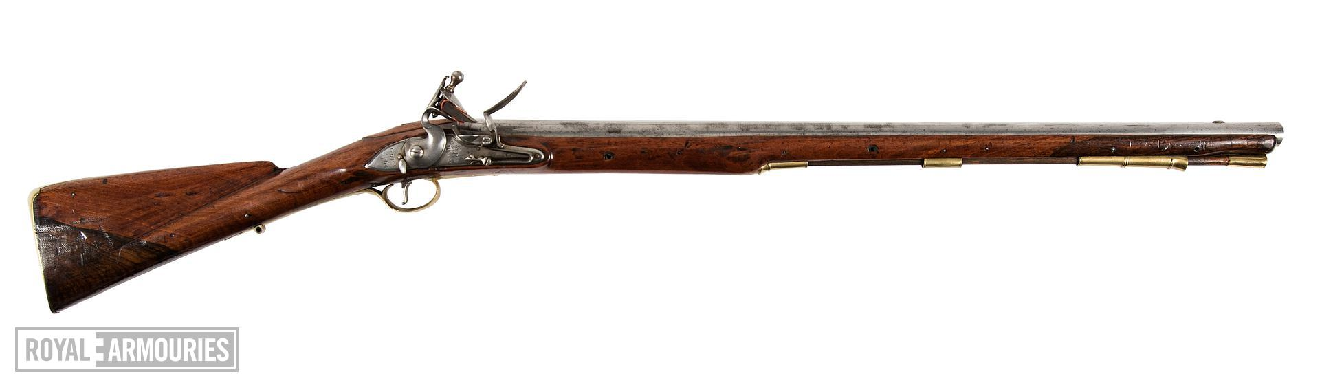 Pattern 1760 Flintlock muzzle-loading military Eliott Light Dragoon carbine, England, about 1764. By Grice. (XII.3511)