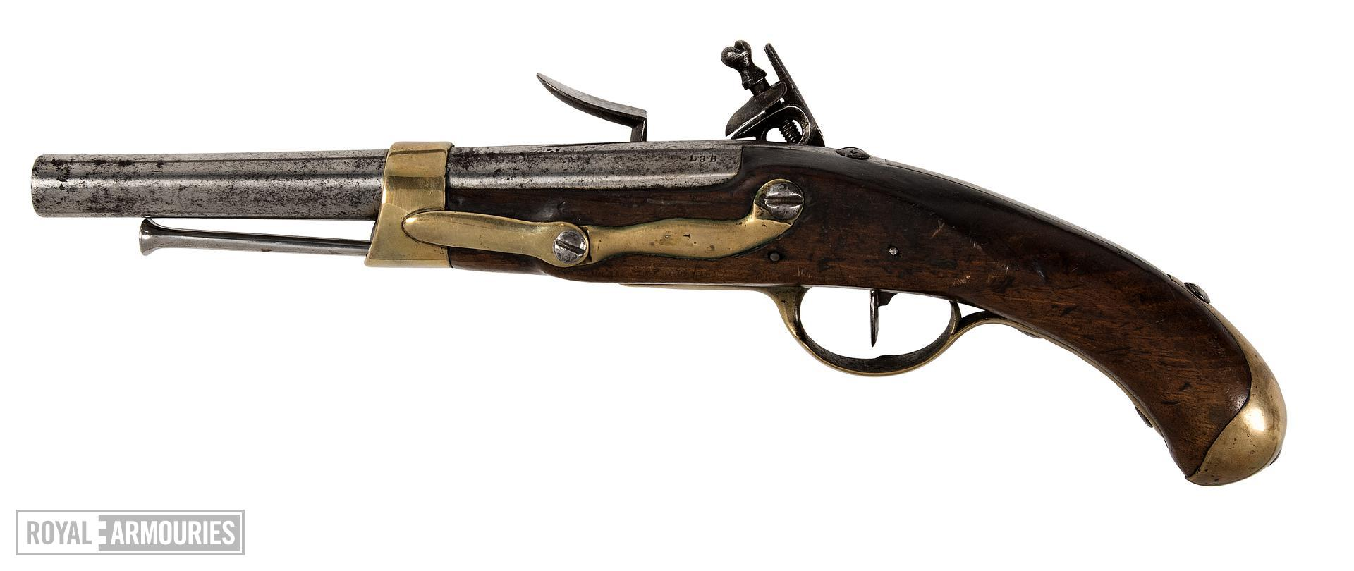 Model 1786 Marine (1804) muzzle-loading flintlock military pistol, France, about 1804 (XII.4012)