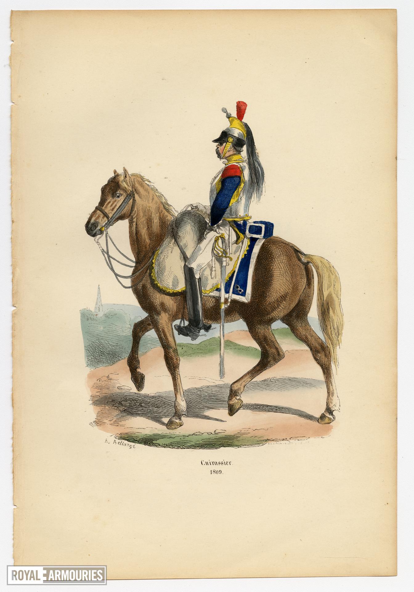 """Cuirassier, 1809. Original hand-coloured print by Hippolyte Bellange, from the book """"Histoire de l'Empreur Napoleon,"""" Paris: Jean-Jaques Dubochet, 1844."""