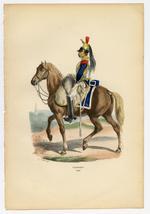 "Thumbnail image of Cuirassier, 1809. Original hand-coloured print by Hippolyte Bellange, from the book ""Histoire de l'Empreur Napoleon,"" Paris: Jean-Jaques Dubochet, 1844."