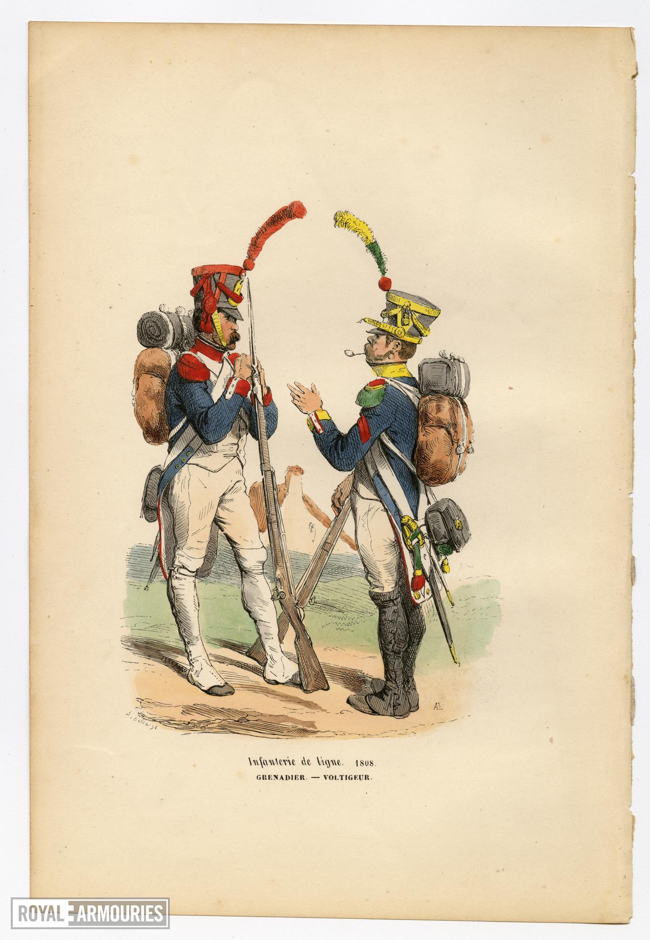 """Infanterie de Ligne 1808: Grenadier - Voltigeur. Original hand-coloured print by Hippolyte Bellange, from the book """"Histoire de l'Empreur Napoleon,"""" Paris: Jean-Jaques Dubochet, 1844."""