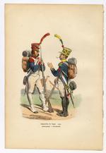 """Thumbnail image of Infanterie de Ligne 1808: Grenadier - Voltigeur. Original hand-coloured print by Hippolyte Bellange, from the book """"Histoire de l'Empreur Napoleon,"""" Paris: Jean-Jaques Dubochet, 1844."""