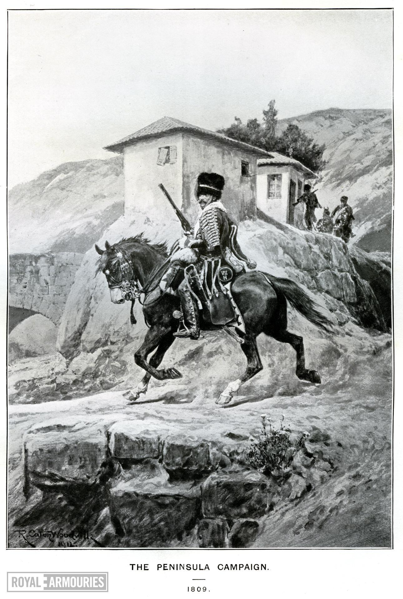 """The Peninsula Campaign, 1809. Hussar of the 7th (Queen's Own) in the Peninsula carrying a Baker Cavalry Rifle. From the book by C.R.B. Barrett, """"The Queen's Own Hussars, """" vol. 1, London: Royal Unites Services Institute, 1914. Facing p. 292."""