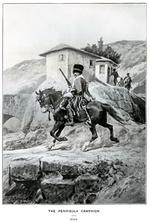 """Thumbnail image of The Peninsula Campaign, 1809. Hussar of the 7th (Queen's Own) in the Peninsula carrying a Baker Cavalry Rifle. From the book by C.R.B. Barrett, """"The Queen's Own Hussars, """" vol. 1, London: Royal Unites Services Institute, 1914. Facing p. 292."""