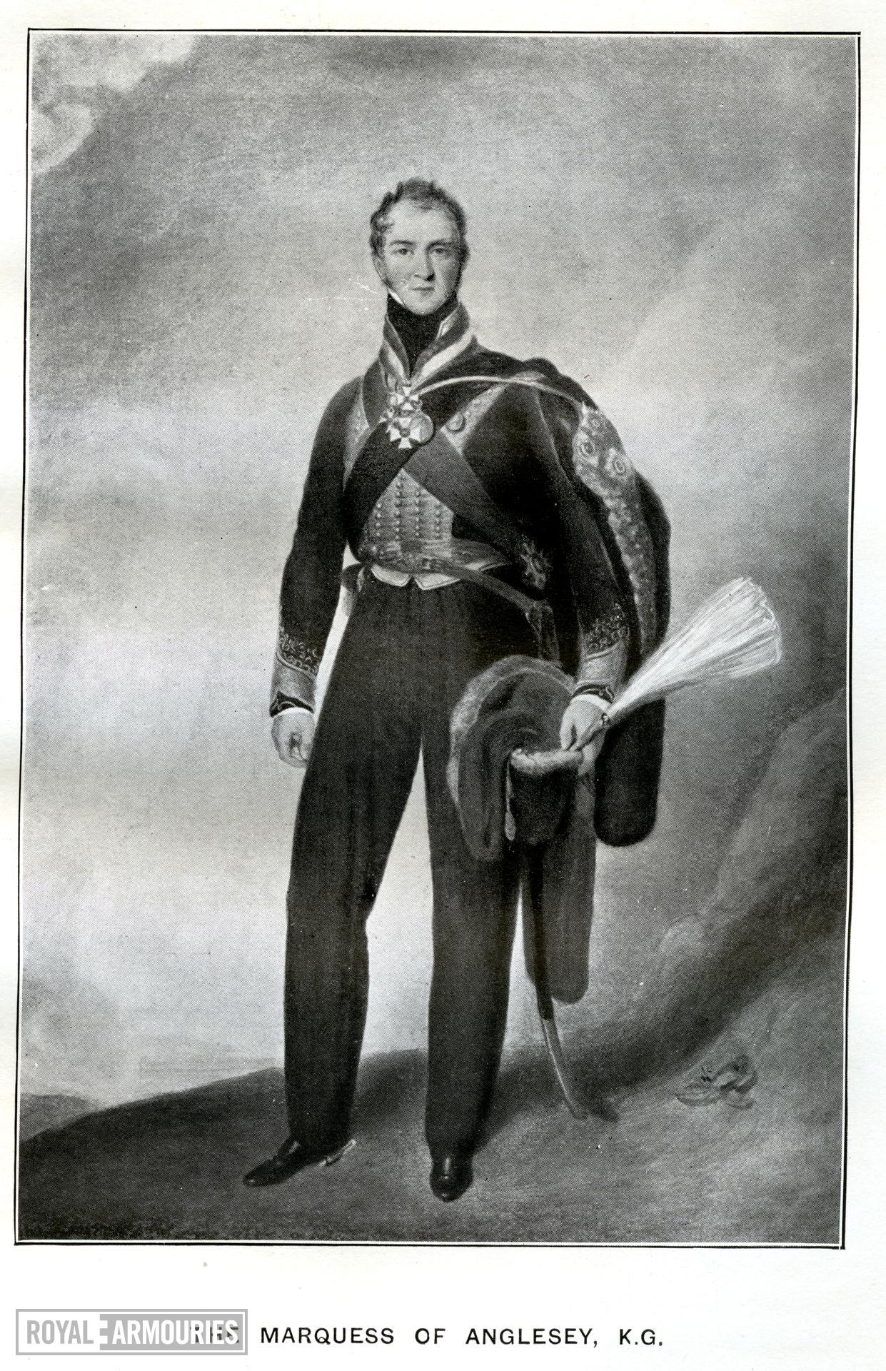 "The Marquess of Anglesey, KG. Portrait of Colonel Sir Henry William Paget, 2nd Earl Uxbridge & 1st Marquis Anglesey. From the book by C.R.B. Barrett, ""The Queen's Own Hussars"", vol. 1, (London: Royal Unites Services Institute, 1914), Facing p. 386."