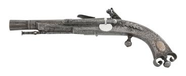 Thumbnail image of Fake flintlock pistol. Copy of a Scottish all-steel pistol, purporting to be by John Campbell. XXI.87