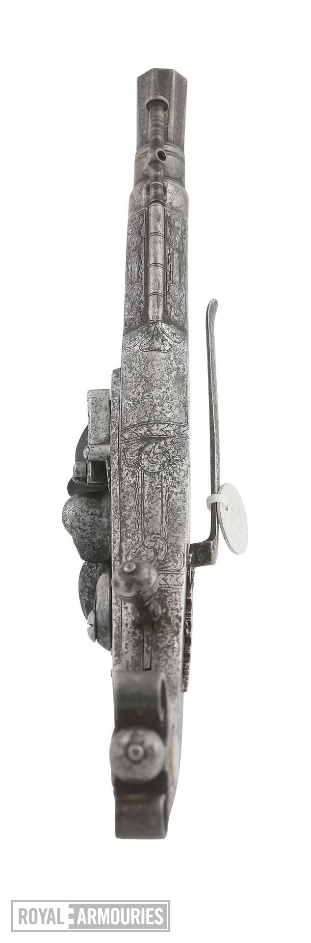 Fake flintlock pistol. Copy of a Scottish all-steel pistol, purporting to be by John Campbell. XXI.87