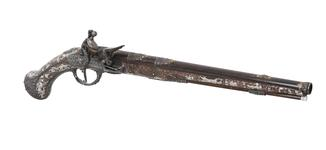Thumbnail image of Flintlock holster pistol By Peter Monlong, (one of a pair, See XII.3830) XII.3829