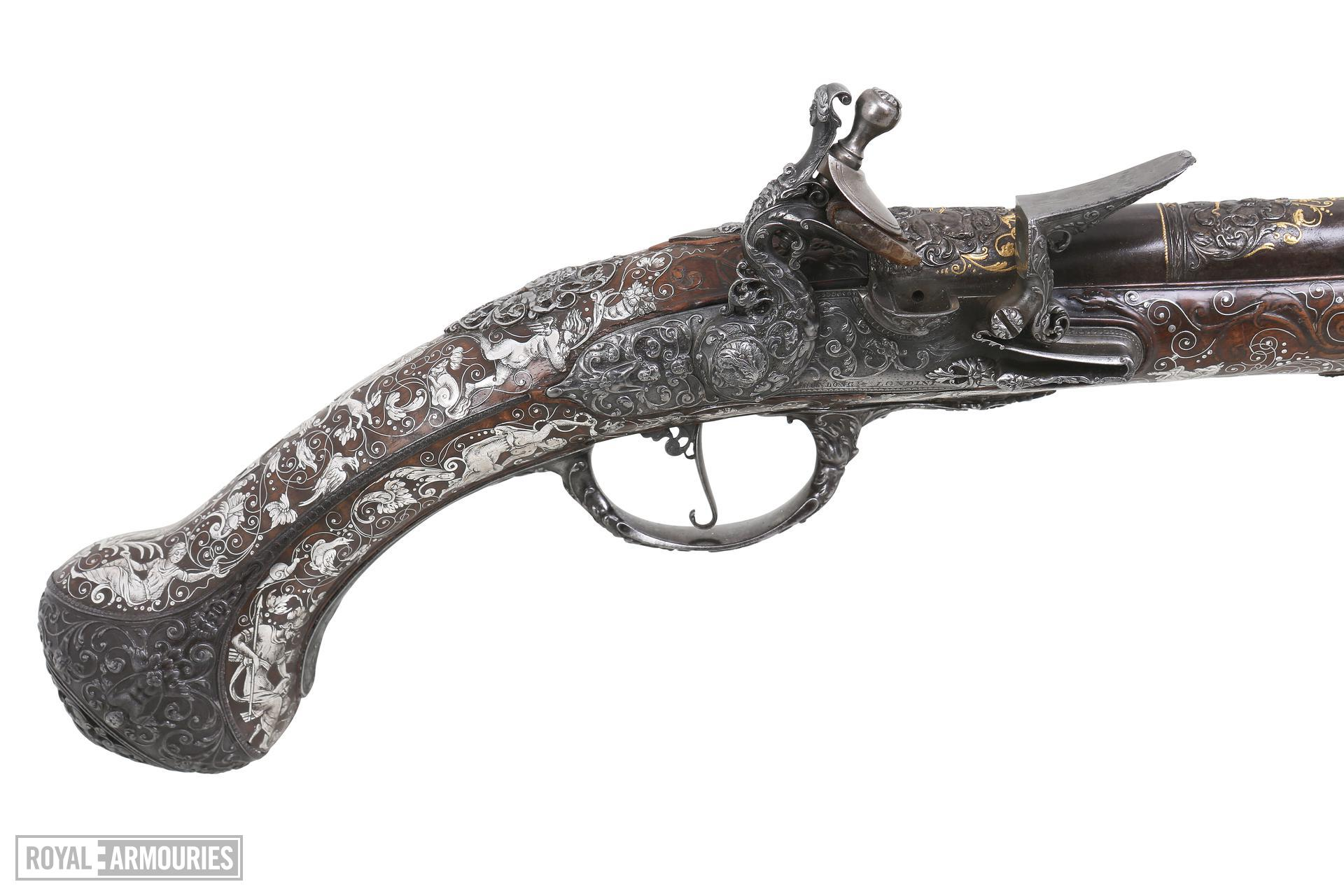 Flintlock holster pistol By Peter Monlong, (one of a pair, See XII.3830) XII.3829