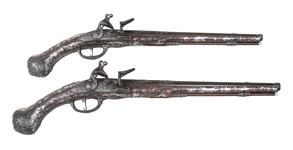 Thumbnail image of Pair of flintlock holster pistols By Peter Monlong, XII.3830 & XII.3829