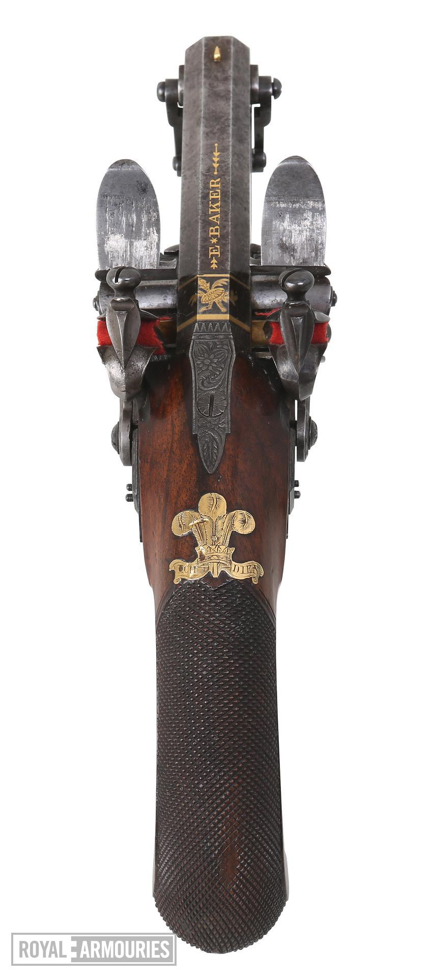 Flintlock muzzle-loading double-barrelled pistol. Made for the Prince Regent. One of a pair see XII.5695. By Ezekiel Baker XII.5694