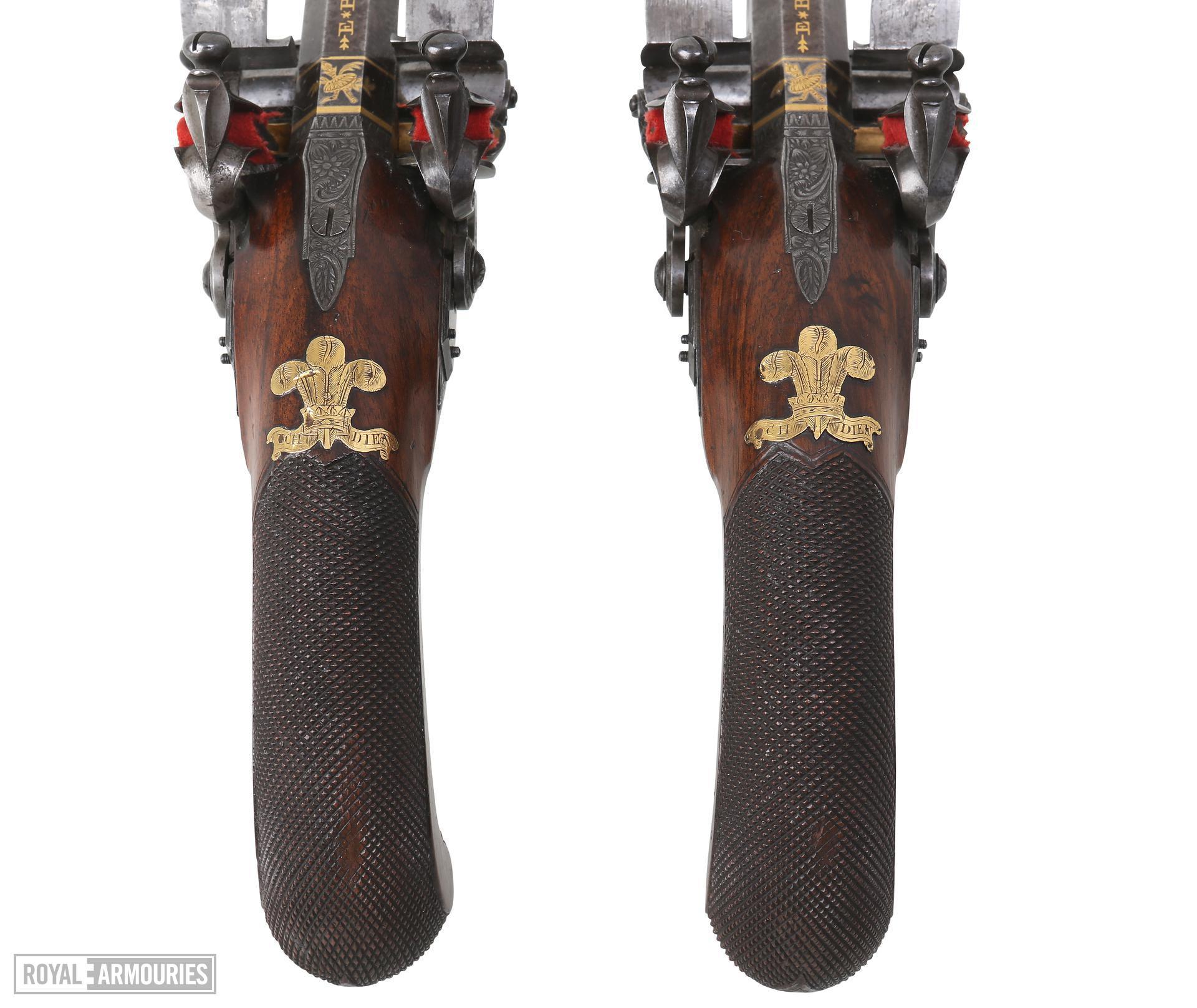 Flintlock muzzle-loading double-barrelled pistols by Ezekiel Baker. Made for the Prince Regen. XII.5694 & XII.5695