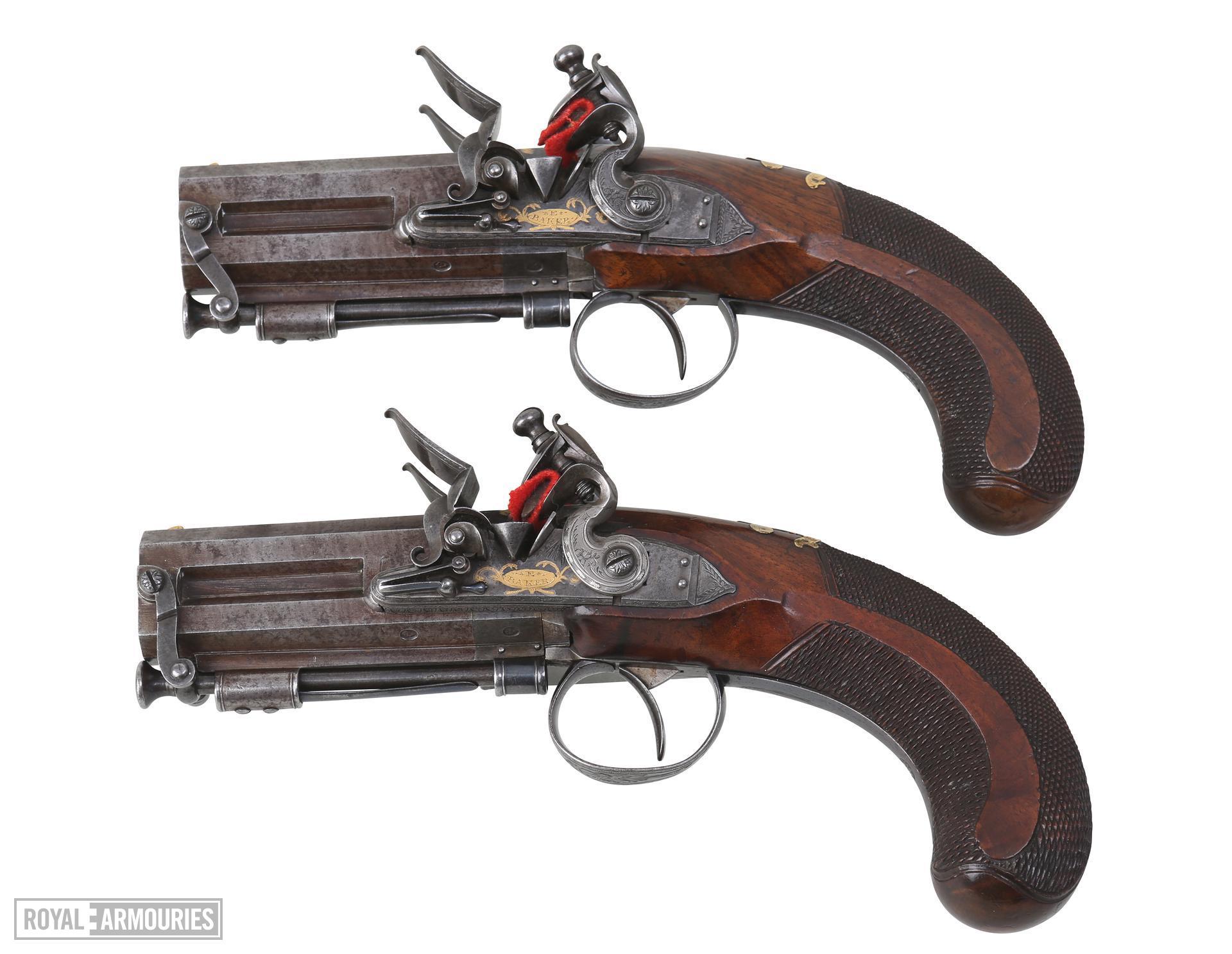 Flintlock muzzle-loading double-barrelled pistol - By Ezekiel Baker
