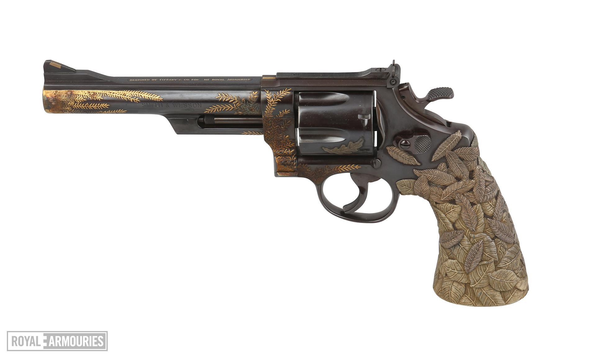 "The ""Tiffany Revolver"", based on a Smith & Wesson Model 29, decoration by Tiffany and Co. of New York. American, dated 1989 (XII.9609)"
