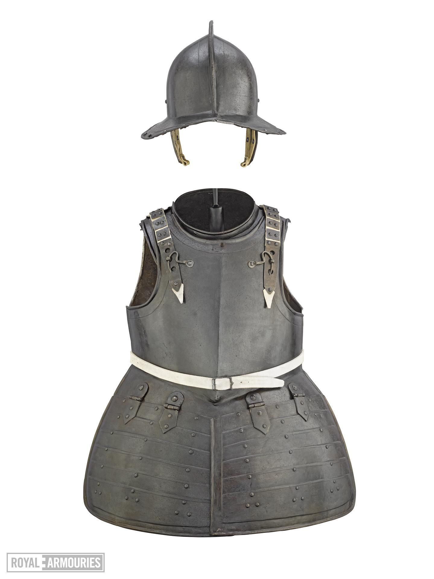 Pikeman's armour. Consists of: helmet, gorget, breastplate, tassets and backplate. II.365 A-E