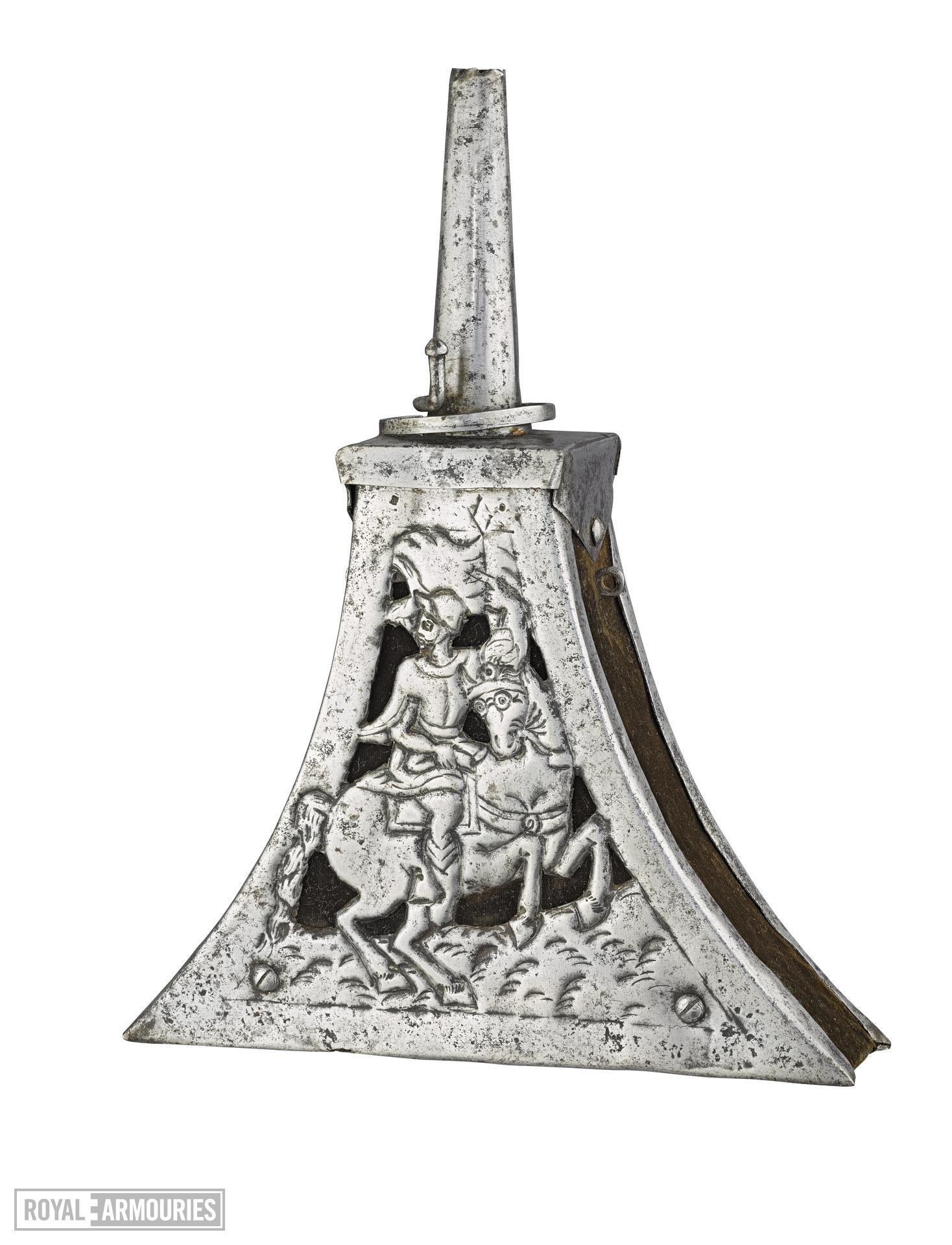 Priming flask of triangular shape, with steel mounts. XIII.11