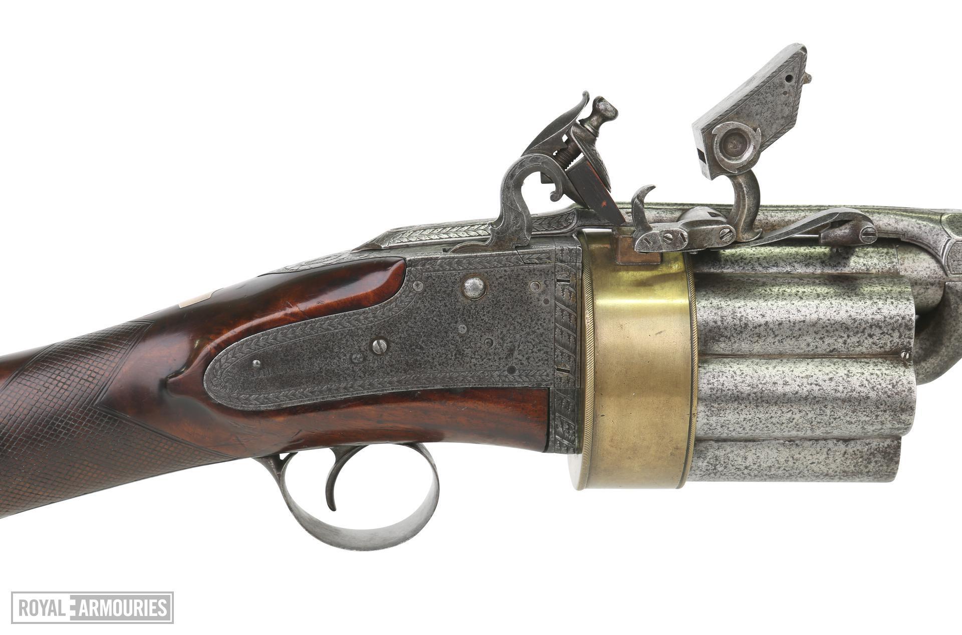 Flintlock revolver gun, Using Colliers's principle of a revolver with seven shots. XII.1503