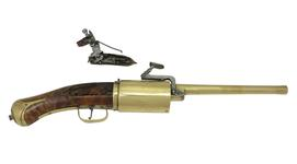 Thumbnail image of Snaphaunce six-shot revolver possibly by John Daft. XII.1780