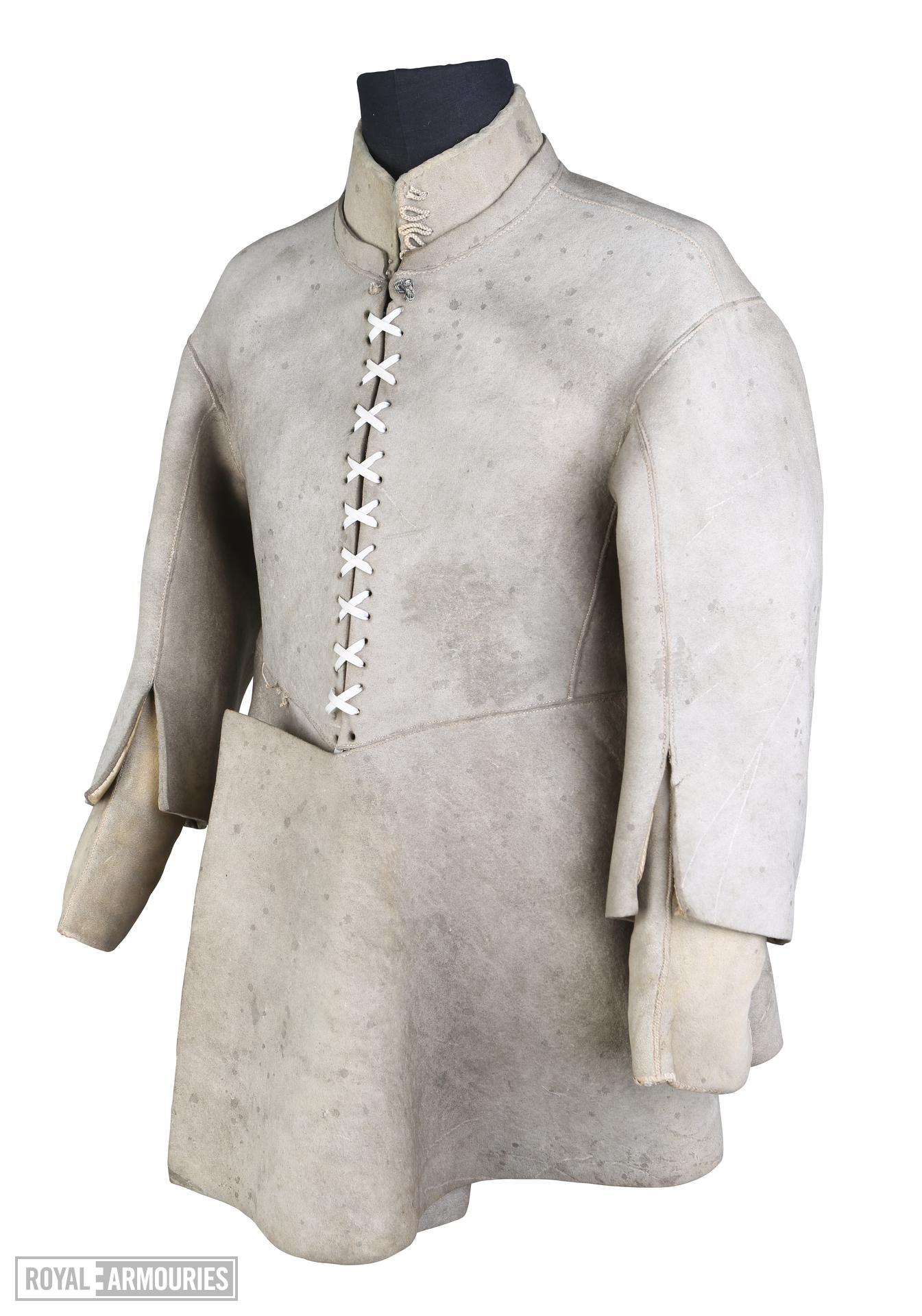 Buff coat with wide overlapping front skirt panels, believed to have belonged to Sir John Gell III.4593