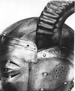 Thumbnail image of Armet - The Horned Helmet Originally forming part of an armour presented to King Henry VIII by the Emperor Maximilian I in 1514 and made by Konrad Seusenhofer. The horned helmet.