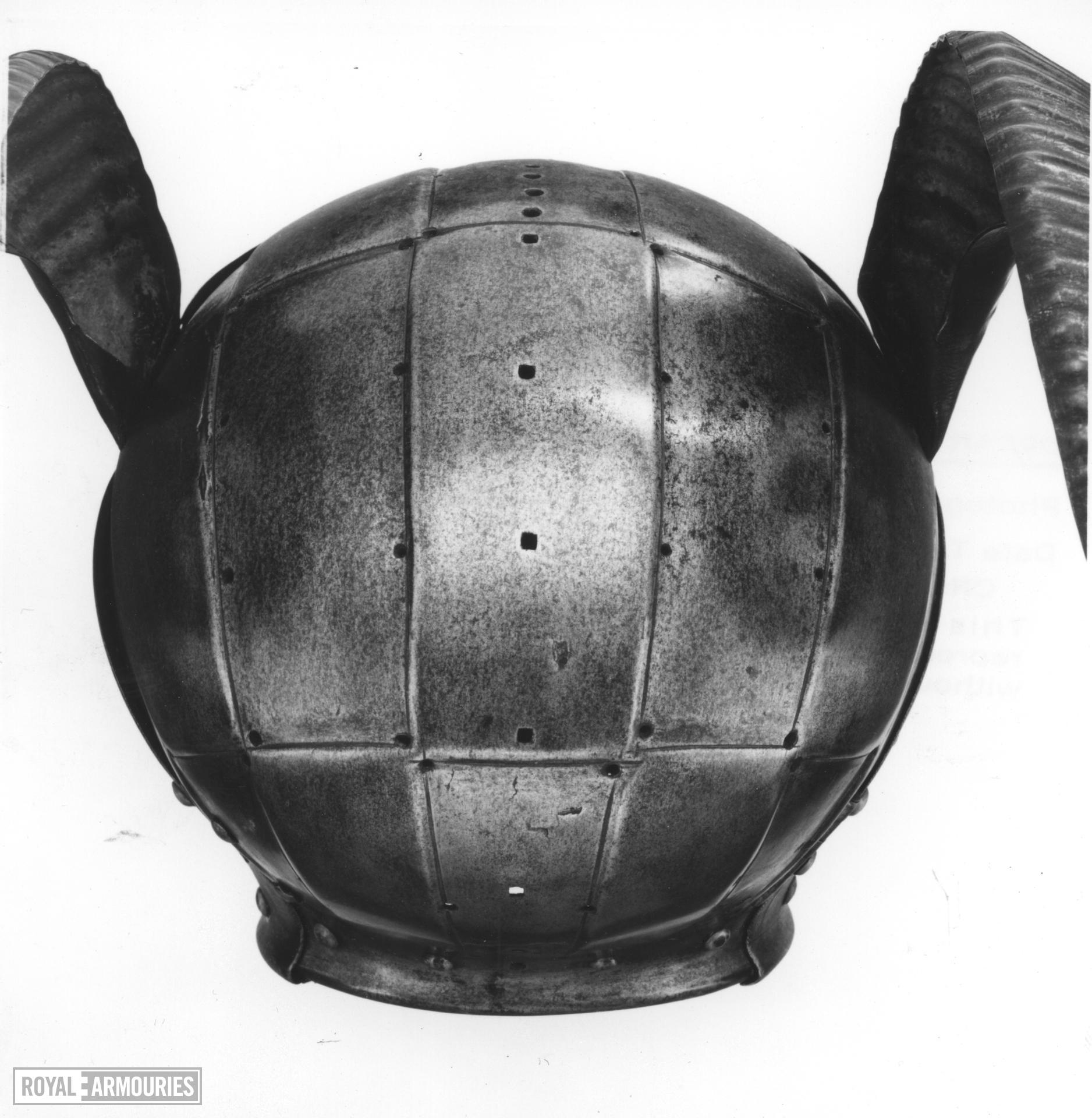 Armet - The Horned Helmet Originally forming part of an armour presented to King Henry VIII by the Emperor Maximilian I in 1514 and made by Konrad Seusenhofer. The horned helmet.