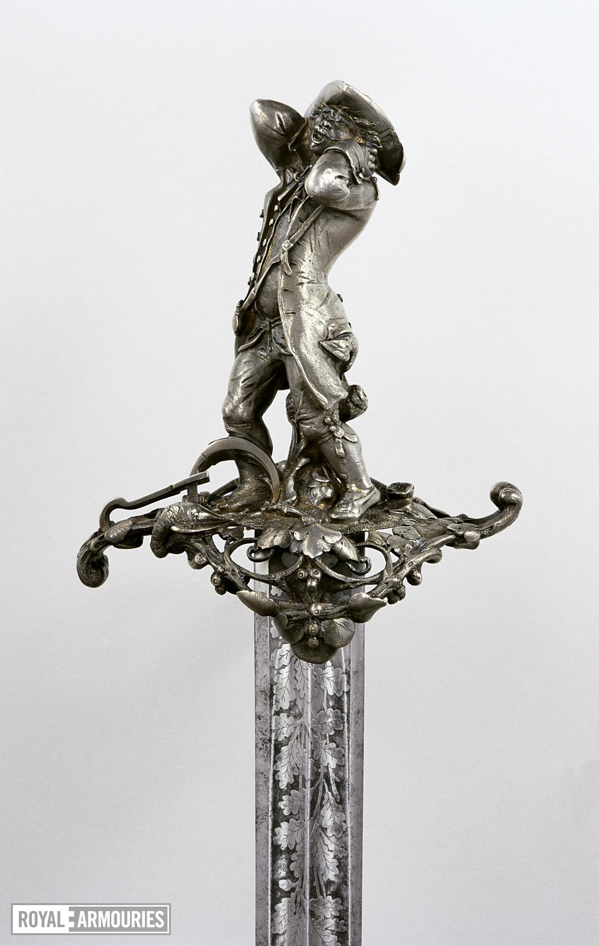 Sword - Hanger and scabbard Hunting hanger and scabbard by Froment-Meurice, the hilt by Jules Wiese.