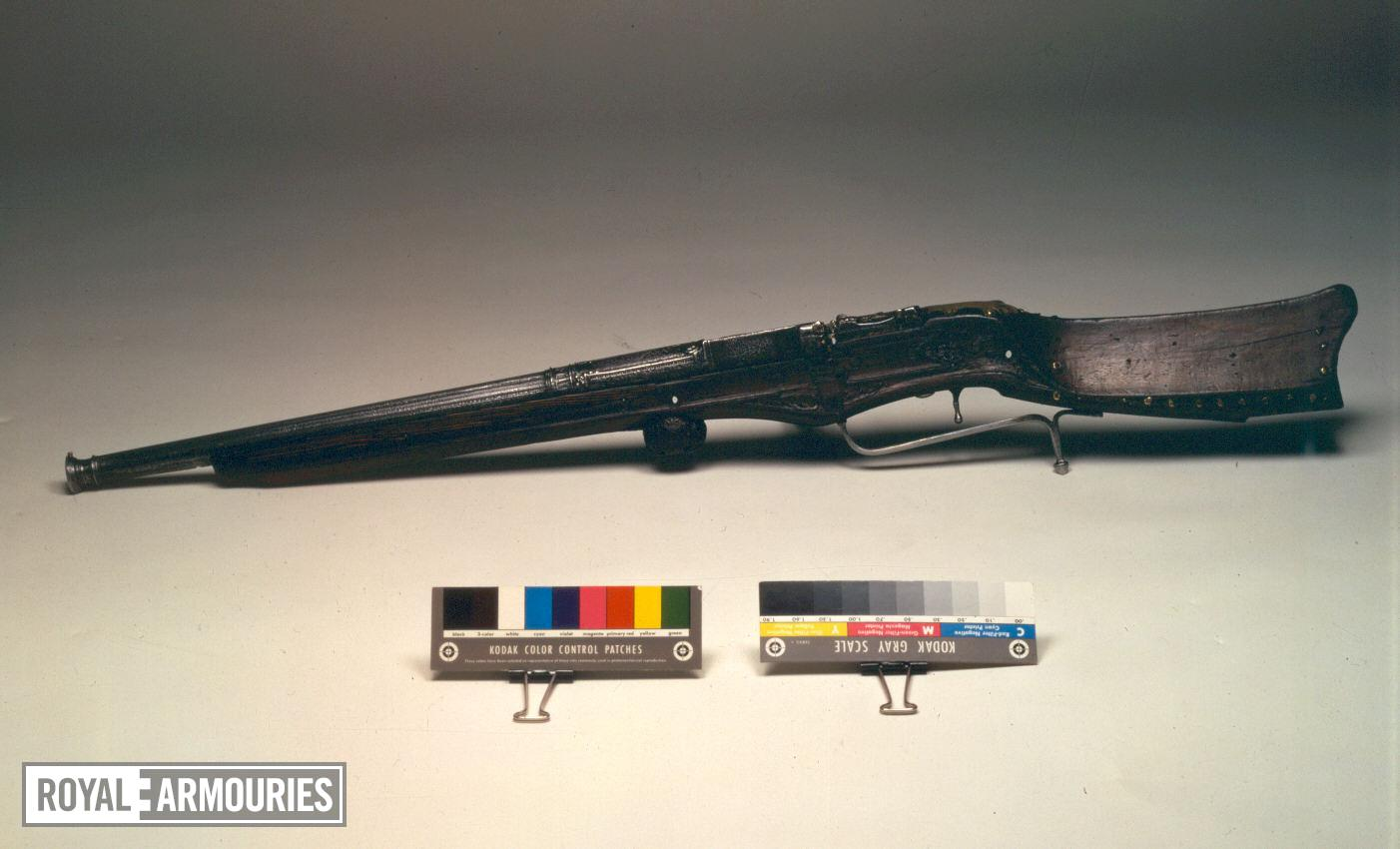 Matchlock breech-loading gun Matchlock breech-loading gun for Henry VIII, by Master WH.