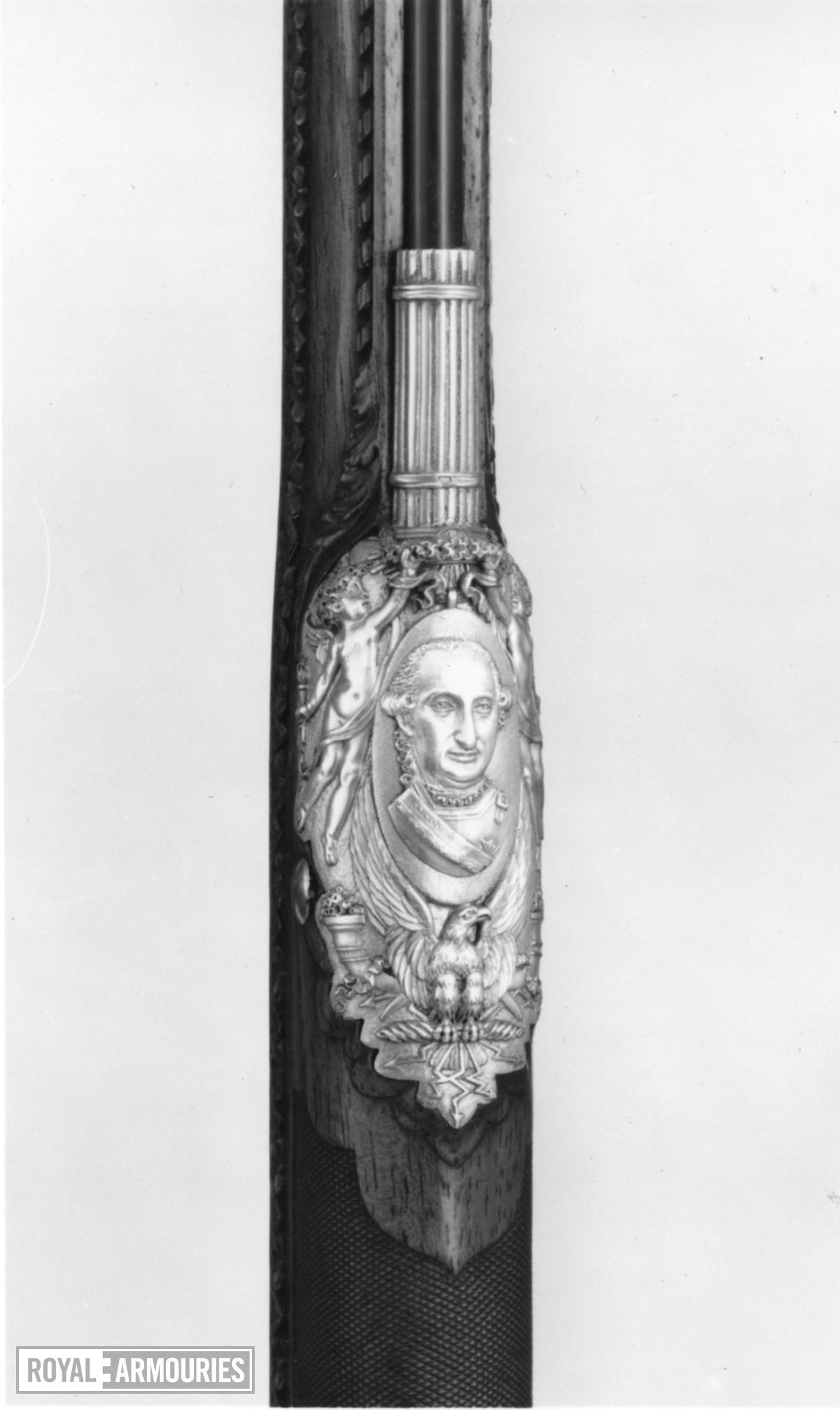 Flintlock muzzle-loading sporting gun - By Nicholas Noel Boutet Of exceptional quality, with Egyptian three-dimensional caryatid on the underside of the stock. Sent as a gift in 1802 to King Charles IV of Spain from Napoleon Bonaparte, then First Consul of France.