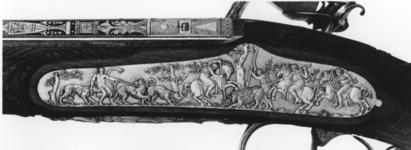 Thumbnail image of Flintlock muzzle-loading sporting gun - By Nicholas Noel Boutet Of exceptional quality, with Egyptian three-dimensional caryatid on the underside of the stock. Sent as a gift in 1802 to King Charles IV of Spain from Napoleon Bonaparte, then First Consul of France.