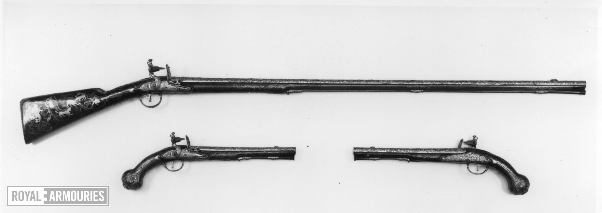 Flintlock sporting gun - part of the Tula Garniture Flintlock sporting gun made for Empress Elizabeth of Russia at Tula