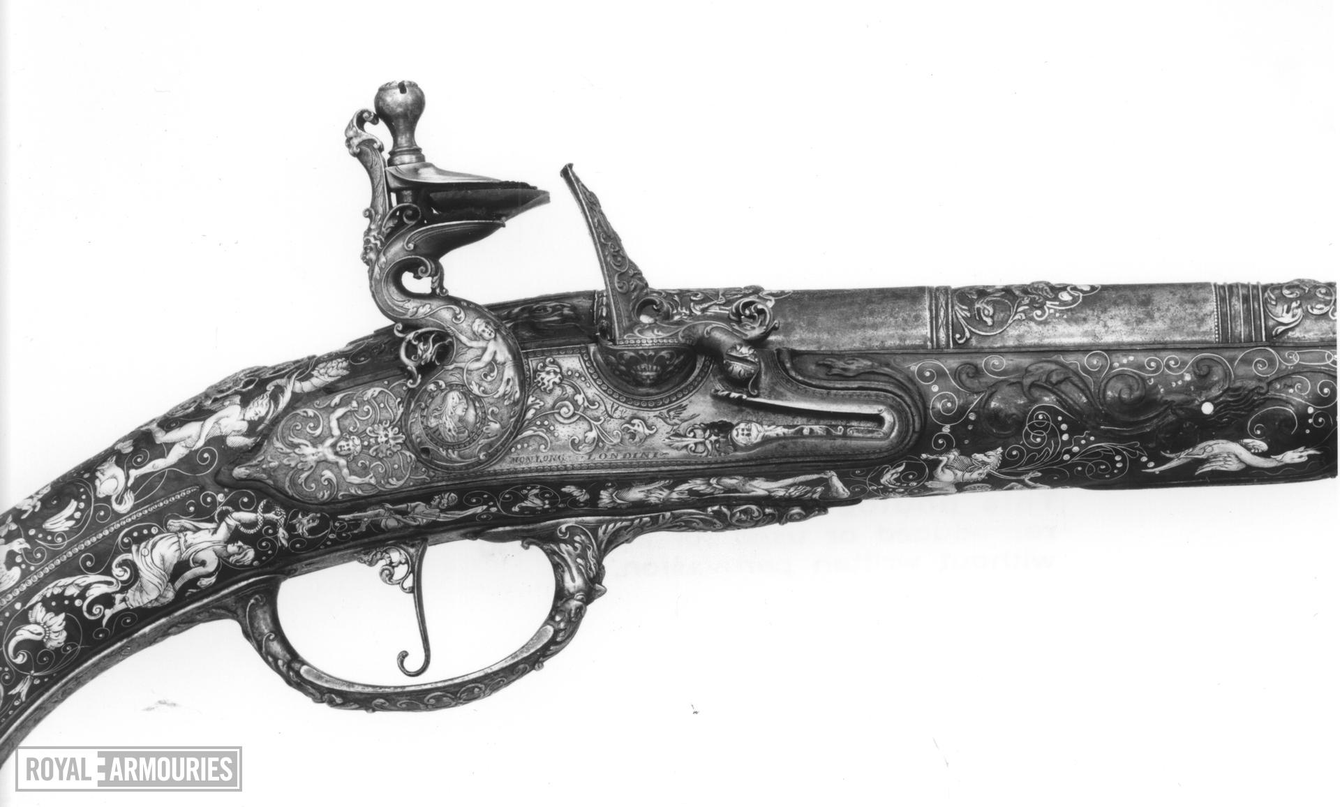 Flintlock holster pistol By Peter Monlong, (one of a pair, See XII.3830)