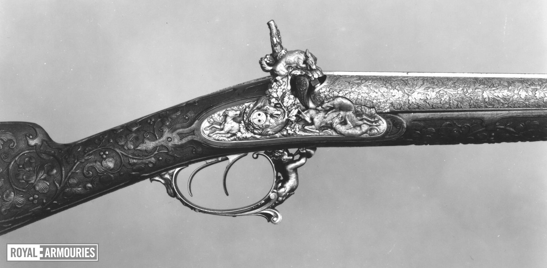 Percussion double-barrelled shotgun - LePage-Moutier exhibition gun heavily decorated