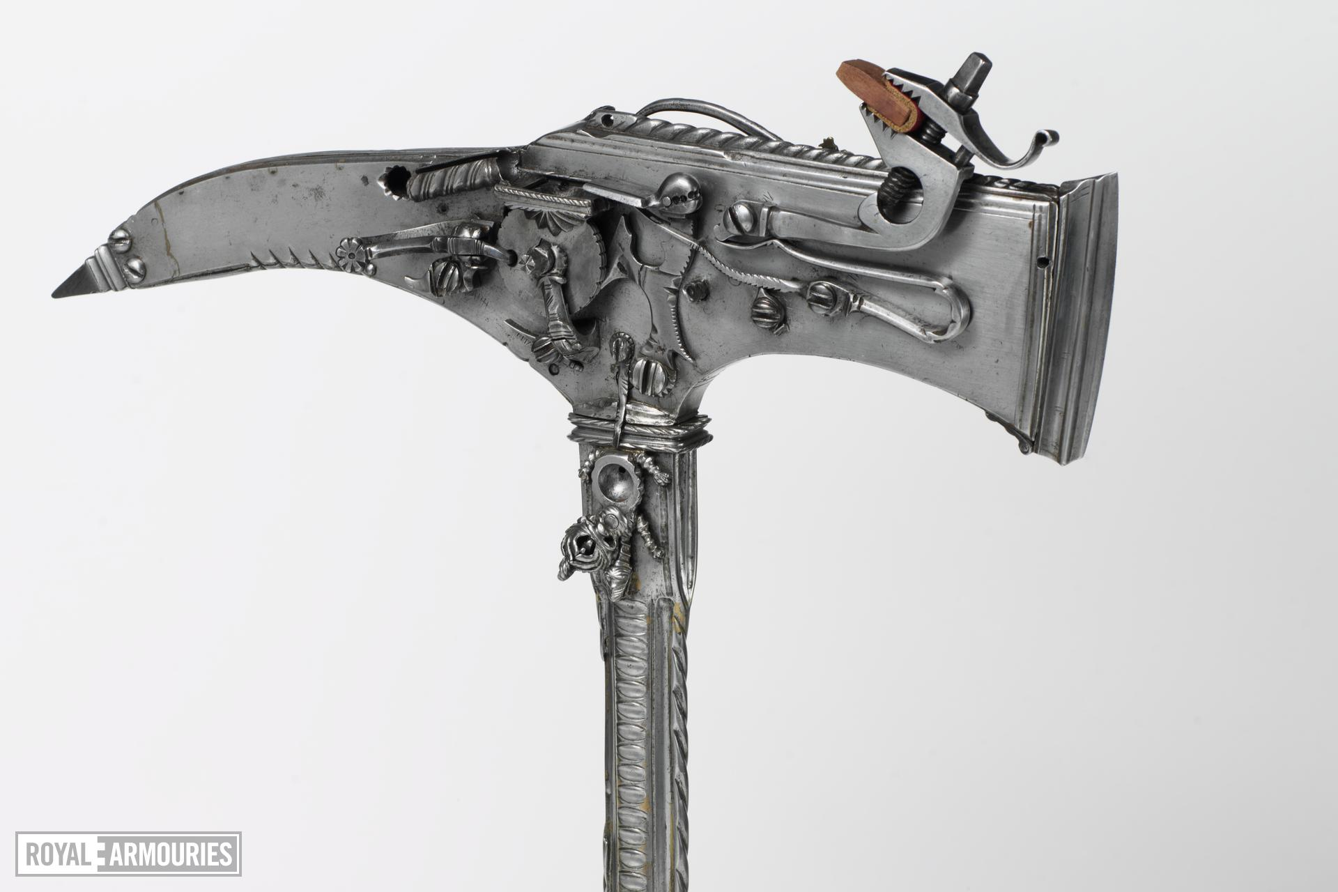 Wheellock combination axe and pistol Possibly a novelty or curiosity