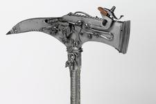 Thumbnail image of Wheellock combination axe and pistol Possibly a novelty or curiosity
