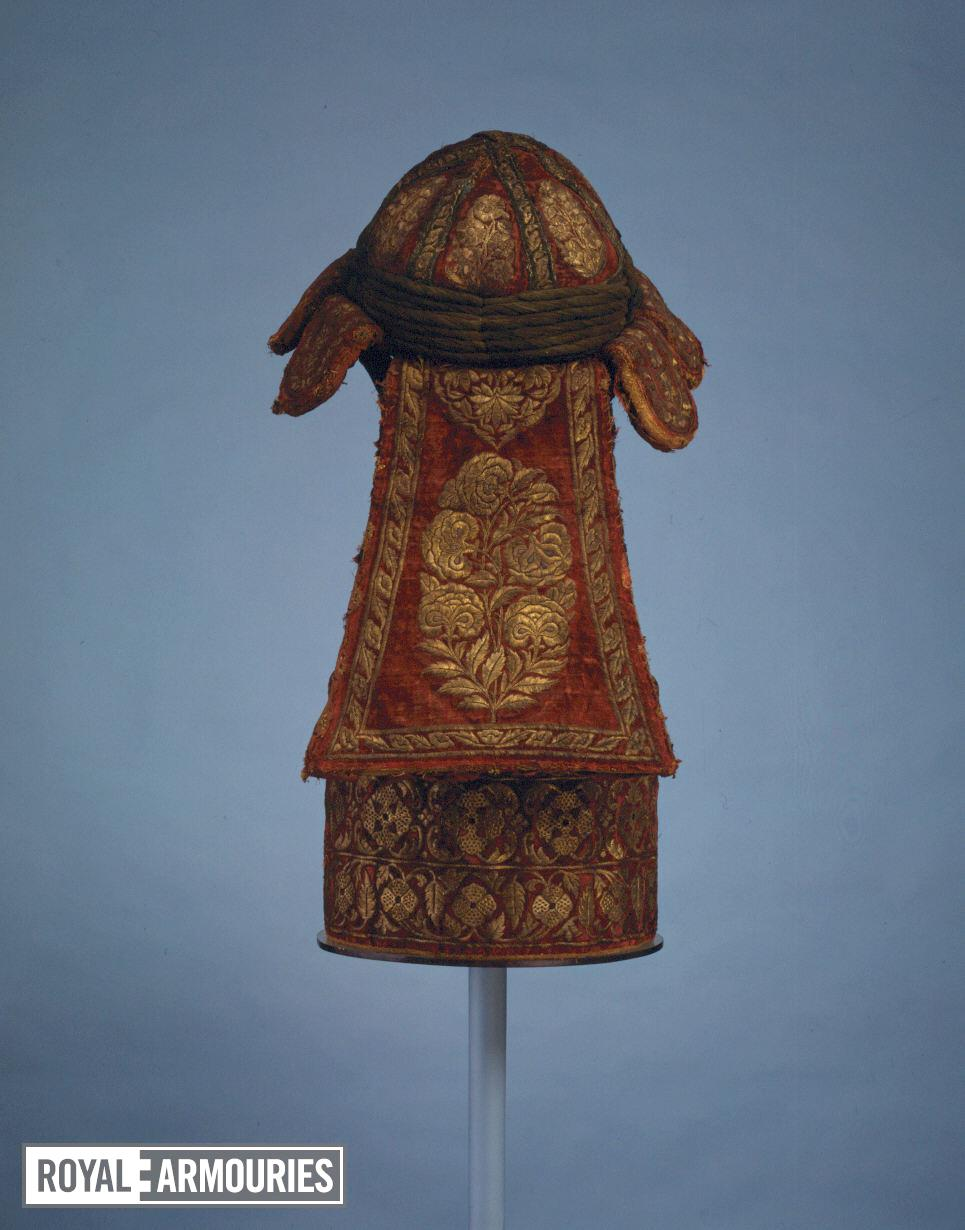 Cuirass and helmet (peti) Body armour (peti) comprising a helmet and cuirass, associated with the royal arsenal of Tipu Sultan at Seringapatam. South Asia (Mysore), late 18th century.