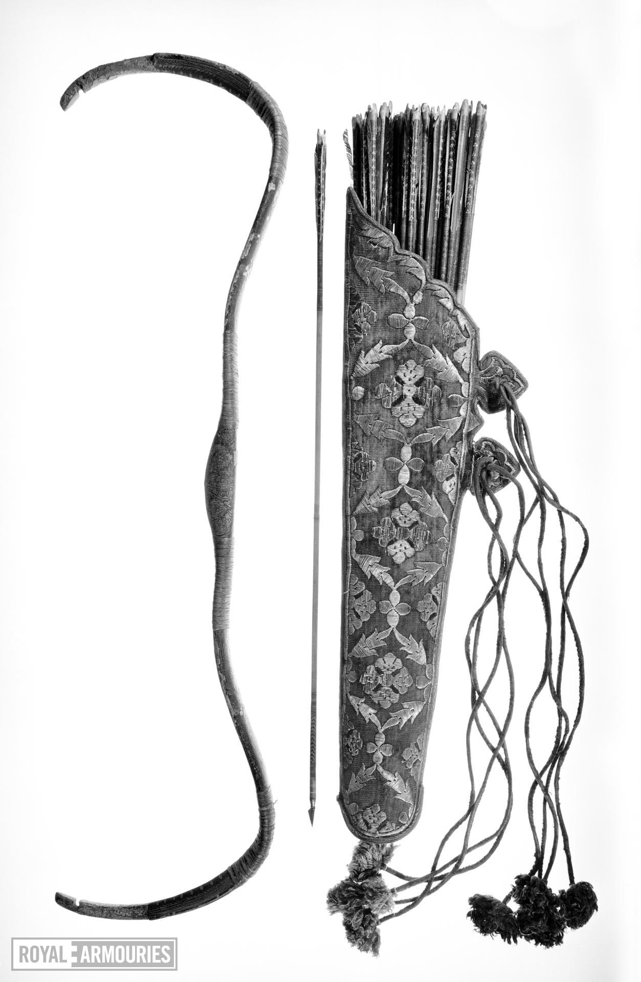 Quiver with silver embroidery
