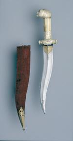 Thumbnail image of Dagger (khanjar) with an ivory hilt.