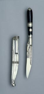 Thumbnail image of Dagger (piha kaetta) and scabbard Dagger (piha kaetta) with silver scabbard