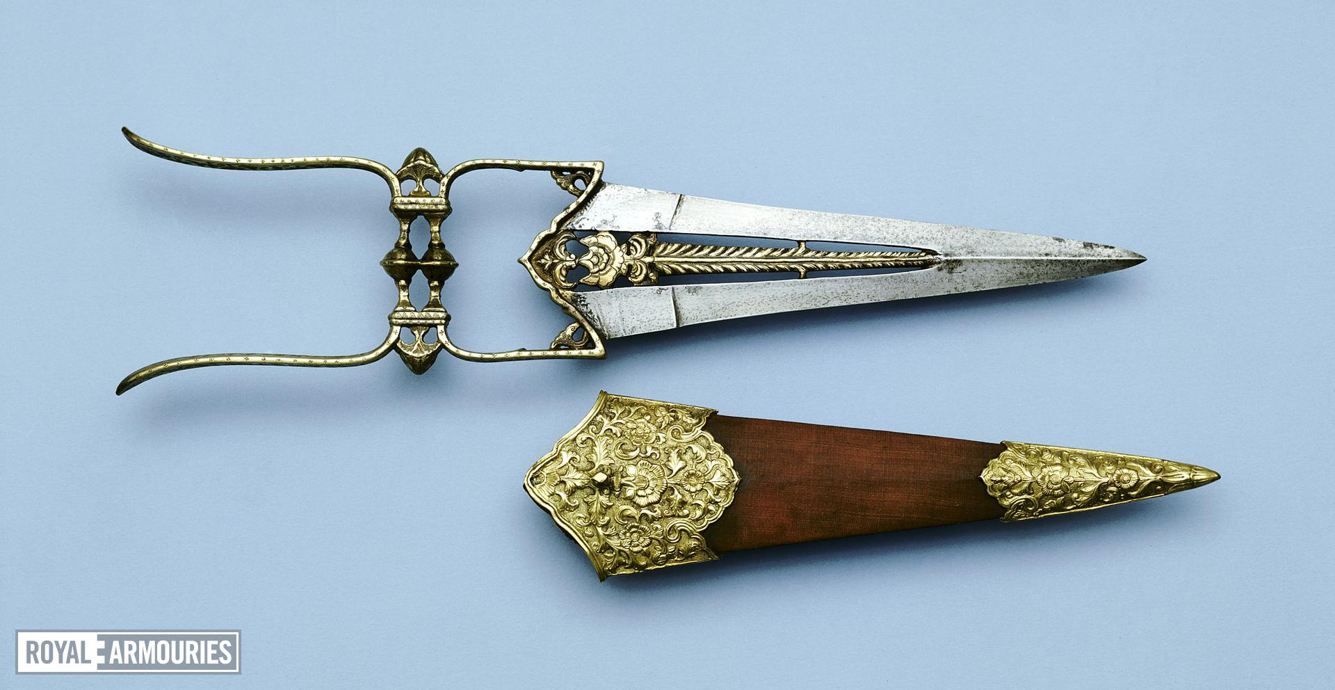 Dagger (katar) and scabbard with pierced blade.