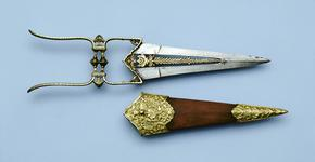 Thumbnail image of Dagger (katar) and scabbard with pierced blade.