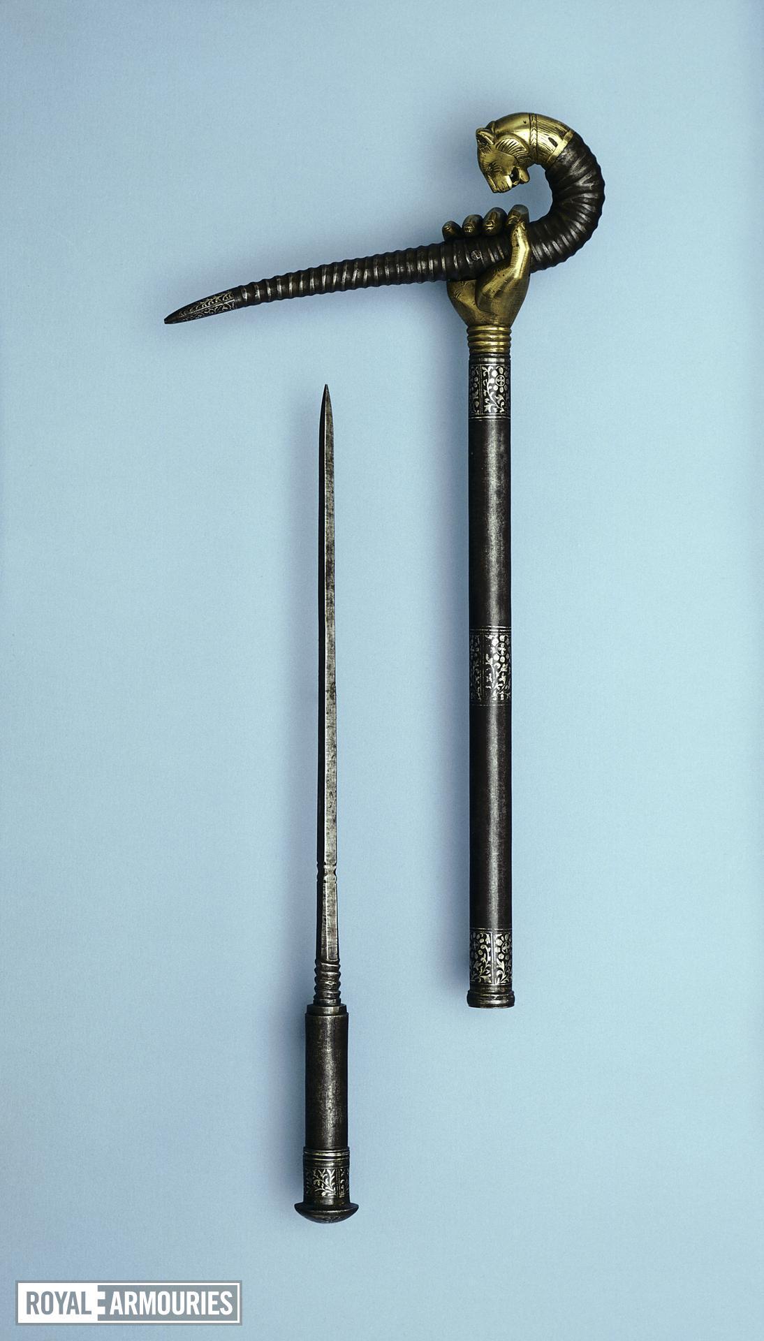 Crutch (bairagi, zafar takieh) with brass hand holding a horn
