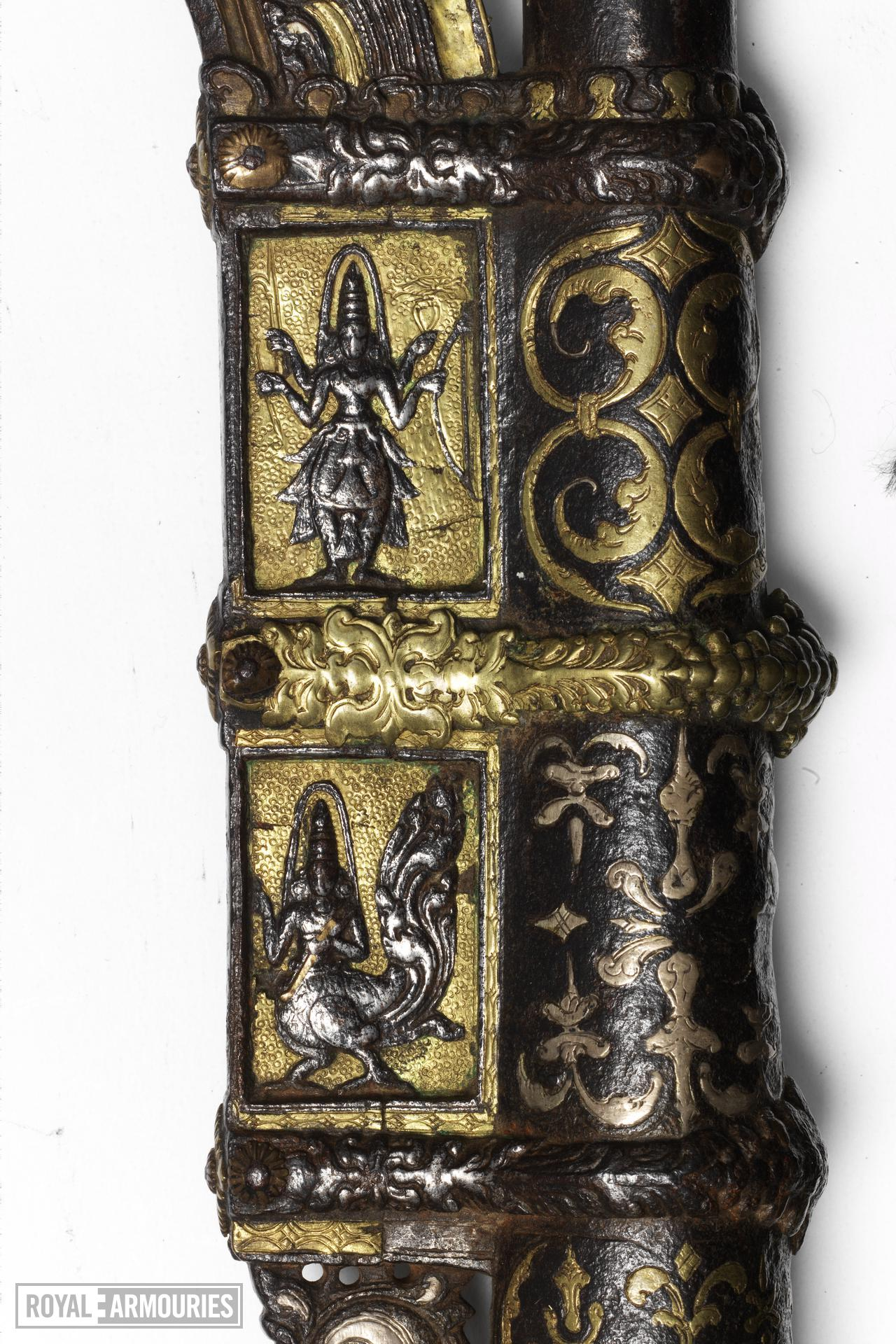 Elephant goad (ankus) with lacquered haft