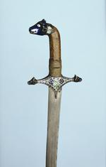 Thumbnail image of Sword (talwar) and scabbard with enamelled silver mounts
