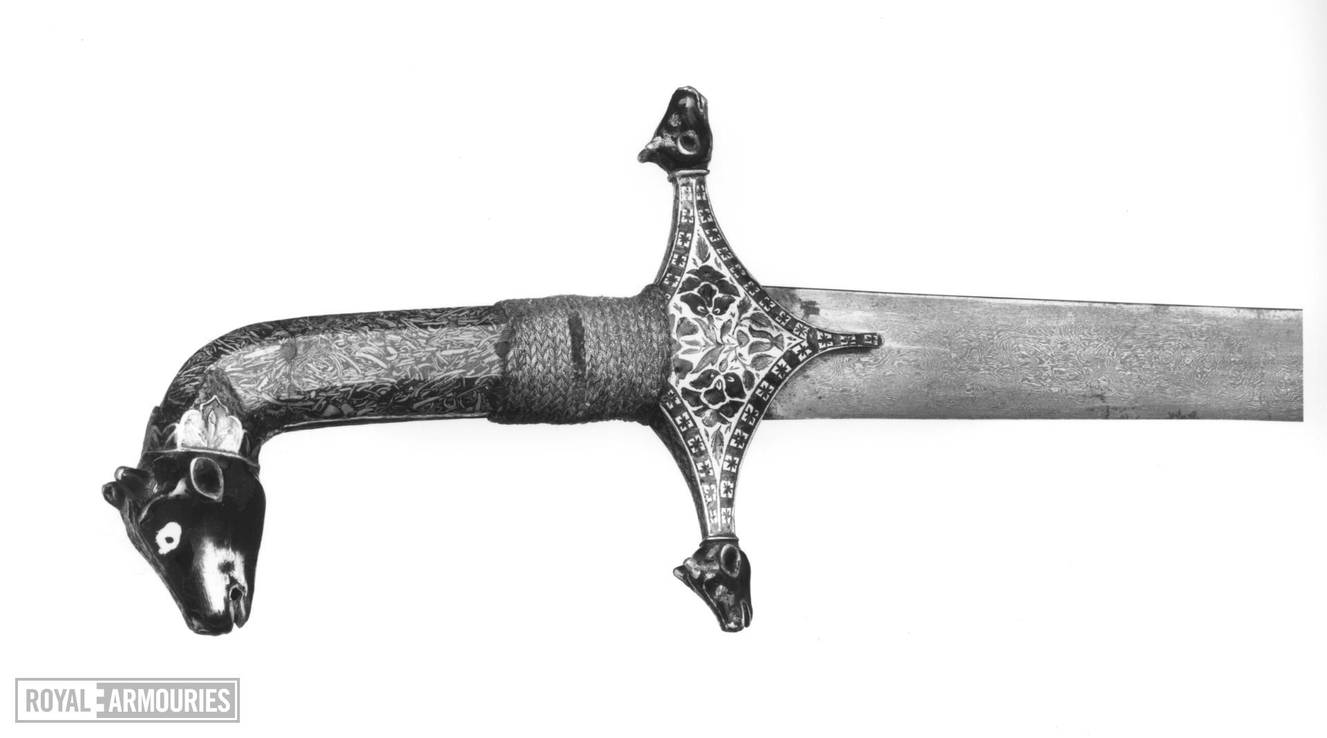 Sword (talwar) and scabbard with enamelled silver mounts