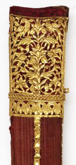 Thumbnail image of Sword (khanda) and scabbard with gilded hilt